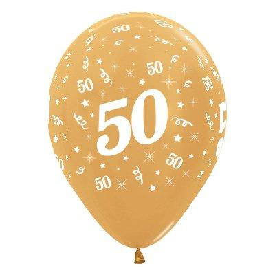 Sempertex 30cm Age 50 Metallic Gold Latex Balloons, 6PK