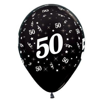 Sempertex 30cm Age 50 Metallic Black Latex Balloons, 6PK