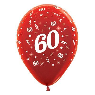 Sempertex 30cm Age 60 Metallic Red Latex Balloons, 6PK