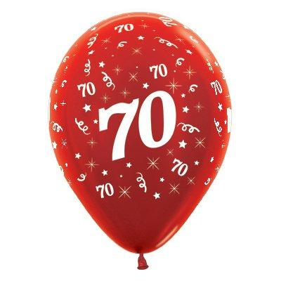 Sempertex 30cm Age 70 Metallic Red Latex Balloons, 6PK