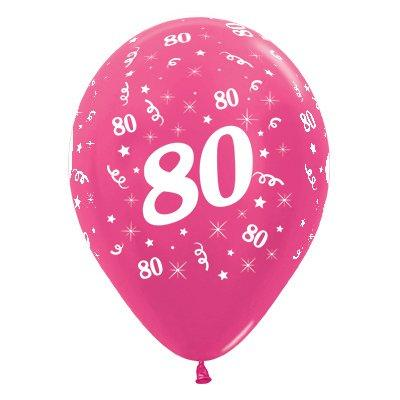 Sempertex 30cm Age 80 Metallic Fuchsia Latex Balloons, 6PK