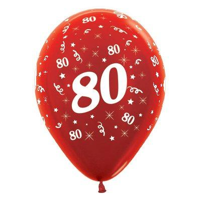 Sempertex 30cm Age 80 Metallic Red  Latex Balloons, 6PK