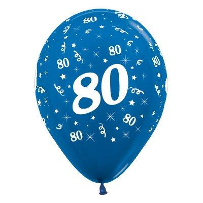 Sempertex 30cm Age 80 Metallic Blue Latex Balloons, 6PK