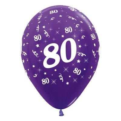 Sempertex 30cm Age 80 Metallic Purple Violet Latex Balloons, 6PK