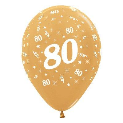 Sempertex 30cm Age 80 Metallic Gold Latex Balloons, 6PK