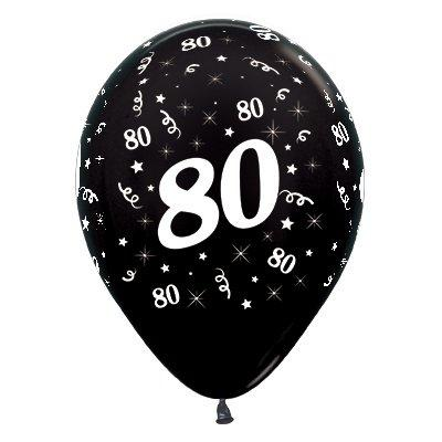 Sempertex 30cm Age 80 Metallic Black Latex Balloons, 6PK