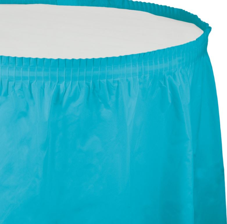Bermuda Blue Table Skirt Plastic 74cm x 4.26m with Adhesive Backing Strip - Each