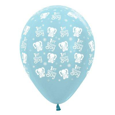 Sempertex 30cm 1st Birthday Boy Elephants Satin Pearl Blue Latex Balloons, 25PK