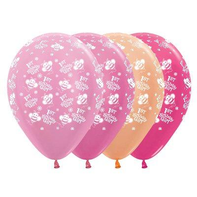 Sempertex 30cm 1st Birthday Girl Bumble Bee's Satin Pearl & Metallic Assorted Latex Balloons, 25PK