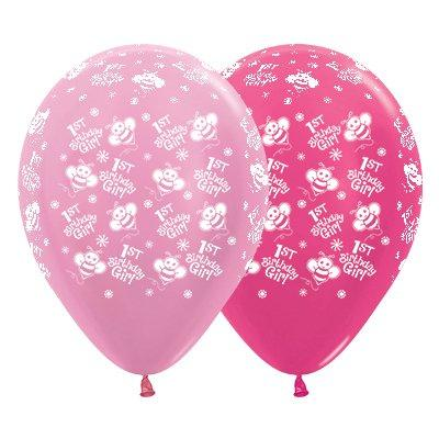 Sempertex 30cm 1st Birthday Girl Bumble Bee's Satin Pearl Pink & Metallic Fuchsia Latex Balloons, 6PK