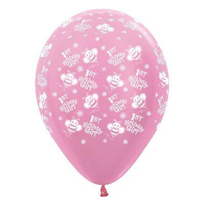 Sempertex 30cm 1st Birthday Girl Bumble Bee's Satin Pearl Pink Latex Balloons, 25PK