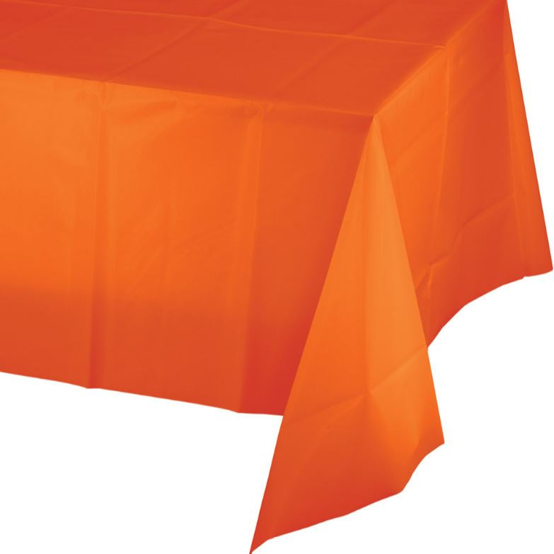 Sunkissed Orange Tablecover Plastic 137cm x 274cm - Each