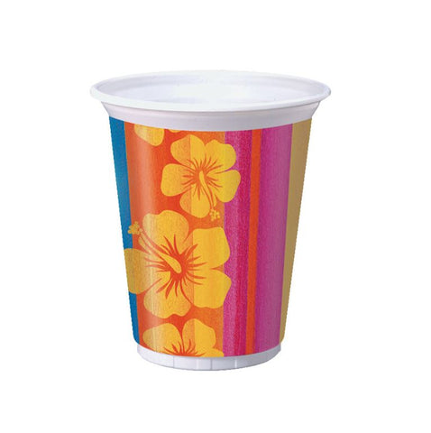 Sunset Stripes Luau Plastic Cups 473ml - Pack of 8