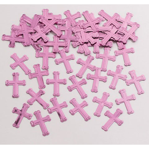 Pink Crosses Shaped Confetti,