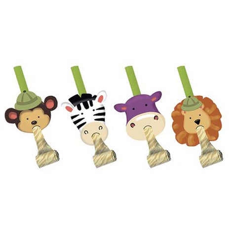 Safari Adventure Blowouts with Medallions  - Pack of 8