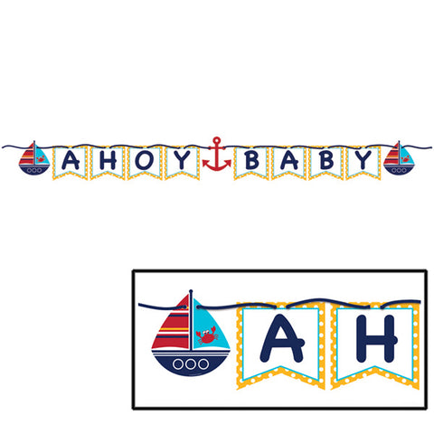 Ahoy Matey Baby Ribbon Flag Banner 1.7m Long with 14cm Cardboard Cutouts & Blue Ribbon - Each
