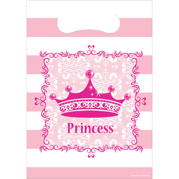 Celebrations Pink Princess Loot Bags Royalty Plastic (23cm x 16cm) - Pack of 8