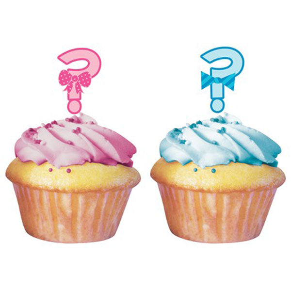 Bow or Bowtie? Cupcake Toppers - Picks Pink and Blue Assorted - Pack of 12
