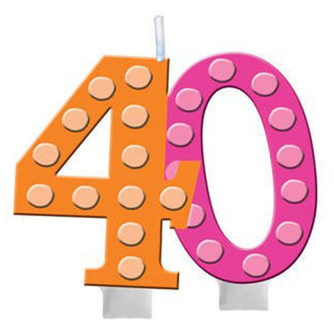 Bright and Bold Candle, 40th Molded Numeral
