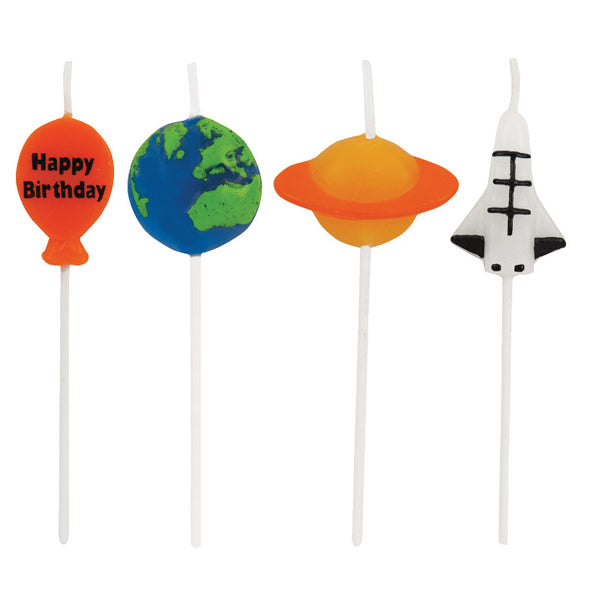 Space Blast Pick Candles Happy Birthday 7.5cm Tall - Pack of 4