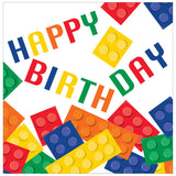 Block Party Luncheon Napkins Happy Birthday 33cm x 33cm 2 Ply - Pack of 16