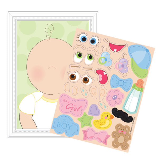 Baby Game - This Baby Looks Like... Game for up to 8 Players - Includes 8 Sticker Sheets with over 30 Stickers on each - Pack of 8