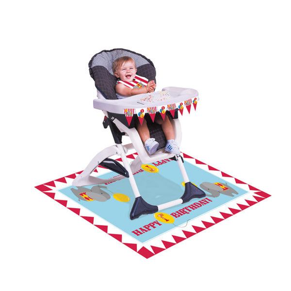 Circus Time High Chair Kit 1st Birthday Plastic Includes - 1 x Mini Plastic Flag Banner, 1 x Floor Mat 121cm x 76cm & 1 x Bib - Each
