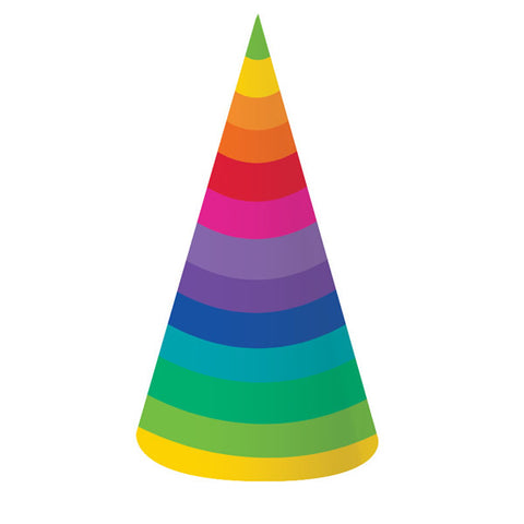 Rainbow Hats Cone Shaped 18cm Cardboard One Size Fits Most - Pack of 8