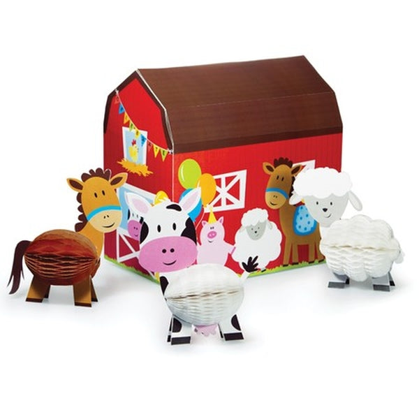Farmhouse Fun Centrepiece Includes Barn 24x15cm & Honecomb Animals 14cm Cardboard - Each