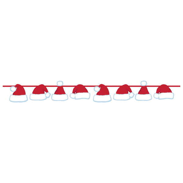 Banner Santa Hats on Ribbon 14cm Cutouts on  x 1.52m Ribbon - Each