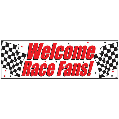 Racing Car Giant Party Banner Welcome Race Fans! Plastic (152.4cm x 50.8cm) - Each