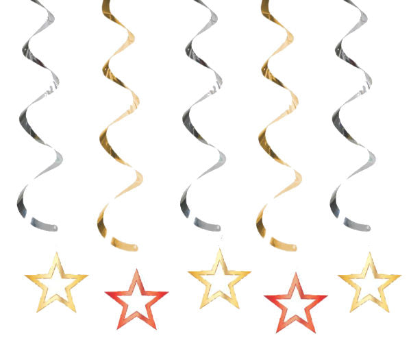 Hollywood Lights Dizzy Danglers Stars Hanging Swirls 2 x Swirls 76cm & 3 x Swirls 99cm - Foil Swirls with Cardboard Cutouts - Pack of 5