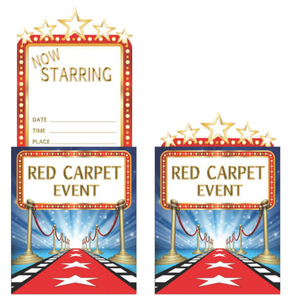 Hollywood Lights Invitations Red Carpet Event Pop Up & Envelopes - Pack of 8