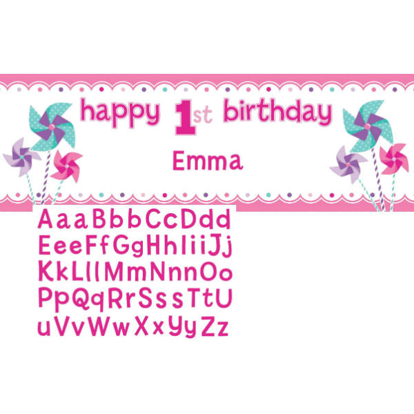 Happy 1st Birthday Turning One Girl Giant Banner Personalize It Alphabet Stickers Included 152cm x 51cm - Each