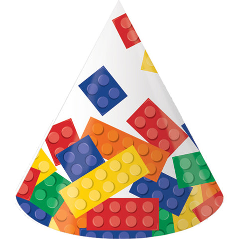Block Party Hats Cone Shaped Cardboard Child Size with Elasticated Strap - Pack of 8