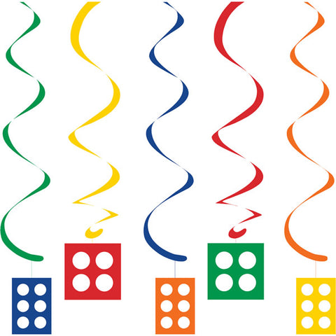Block Party Dizzy Danglers Hanging Swirls 2 x Danglers 76cm & 3 x Danglers 99cm - Pack of 5