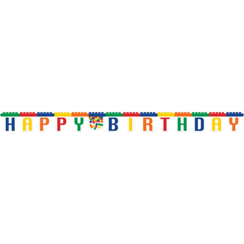Block Party Banner Jointed Happy Birthday 2.8m Cardboard - Each