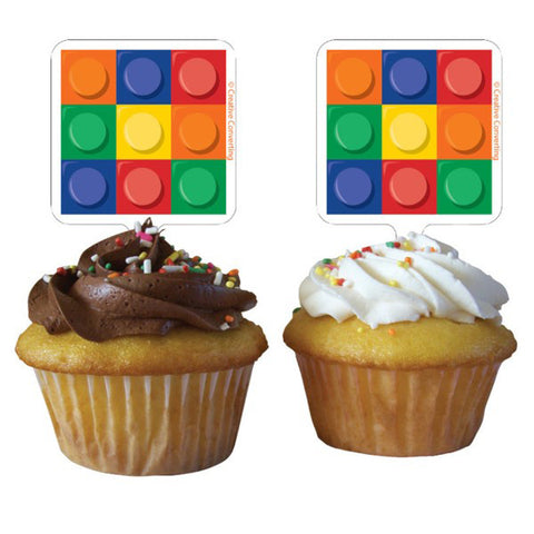 Block Party Cupcake Toppers - Picks Plastic 7cm x 5cm - Pack of 12