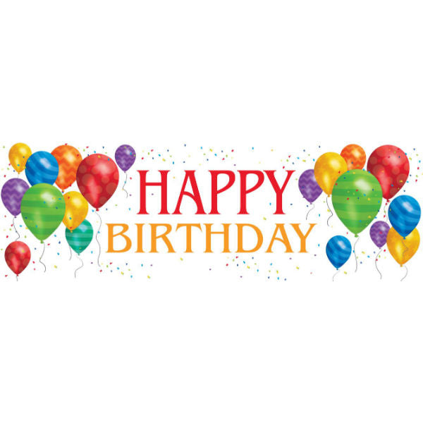 Happy Birthday Giant Party Banner & Balloons 51cm x 152cm & Eyelets Indoor or Outdoor Use - Each