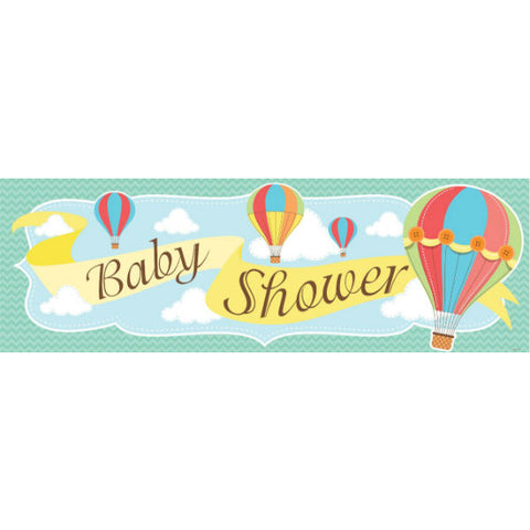 Baby Shower Hot Air Balloons Giant Party Banner 51cm x 152cm & Eyelets Indoor or Outdoor Use - Each