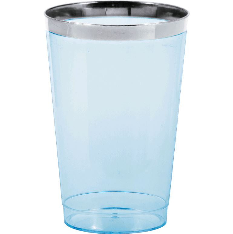 Tumblers - Cups Blue Plastic with Silver Metallic Rim 354ml  Supplied in a Display Box - Pack of 8