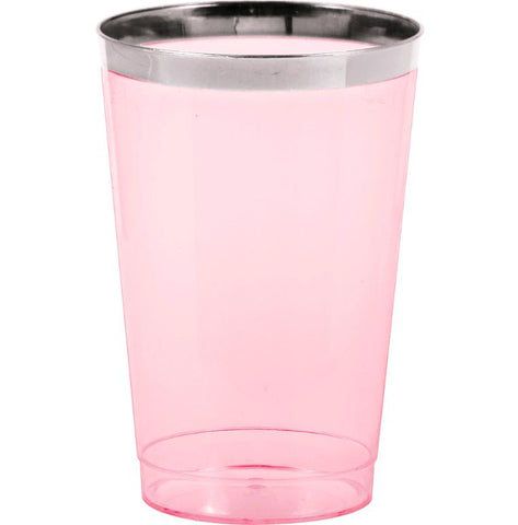 Tumblers - Cups Pink Plastic with Silver Metallic Rim 354ml Supplied in a Display Box - Pack of 8