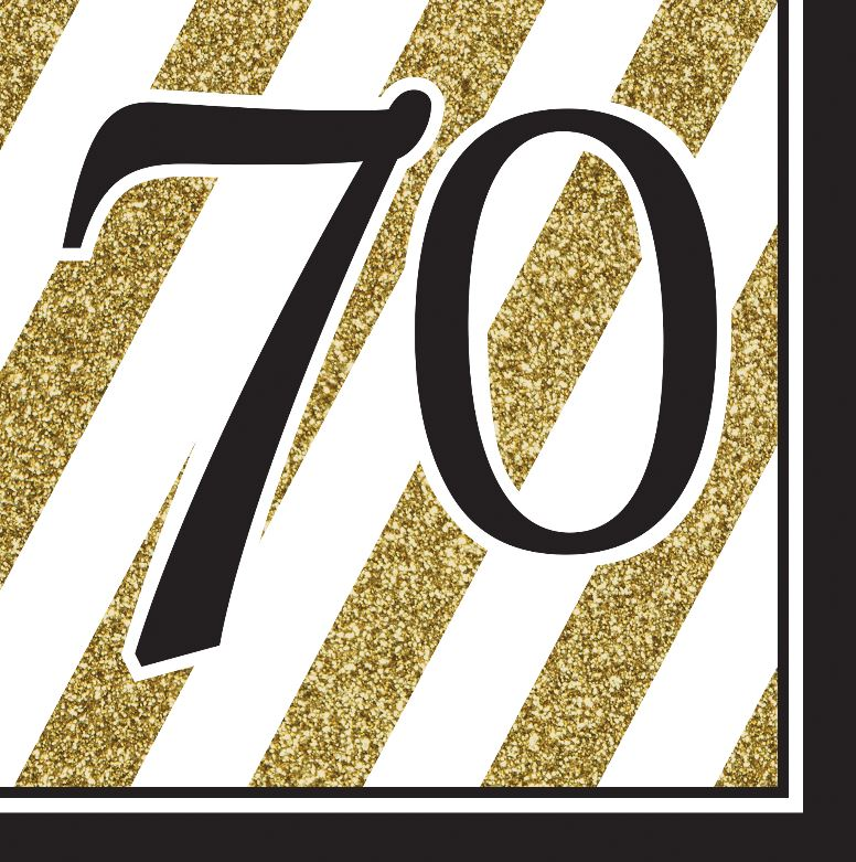 Black & Gold 70 Luncheon Napkins 33cm x 33cm 3 Ply - Pack of 16
