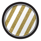 Black & Gold Luncheon Plates Paper Round 18cm - Pack of 8