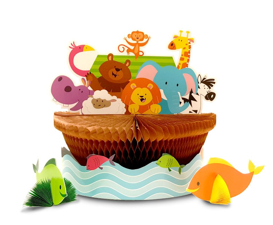 Noah's Ark Centrepiece Honeycomb Set 24cm x 23cm Cardboard (Assembly Required) - Each