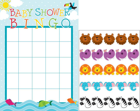 Noah's Ark Baby Shower Bingo Games 10 x Game Cards & 10 x Sticker Sheets - Pack of 10