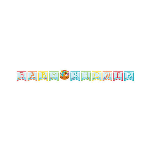 Noah's Ark Ribbon Banner Baby Shower 15cm x 2.9m Cardboard - Each