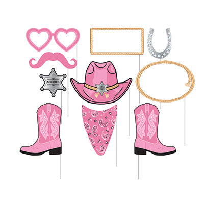 Photo Booth Props Pink Bandana Western Assorted Designs Cardboard & Sticks Included - Pack of 10