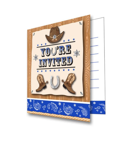 Blue Bandana Cowboy Invitations You're Invited Foldover & Envelopes 13cm x 10cm - Pack of 8