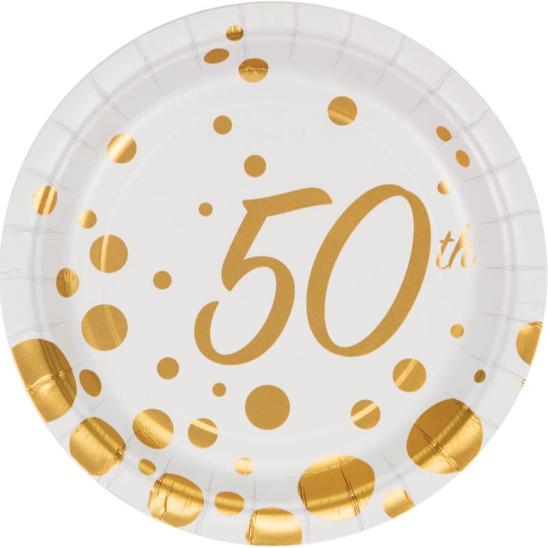 Sparkle & Shine Gold 50th Luncheon Plates Paper 18cm Round - Pack of 8